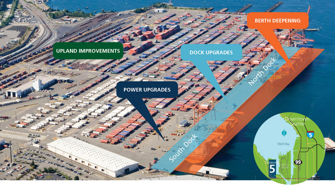 Upgrades to the north and south dock areas are shown on a project map of Terminal 5, along with the area where berth deepening will occur.